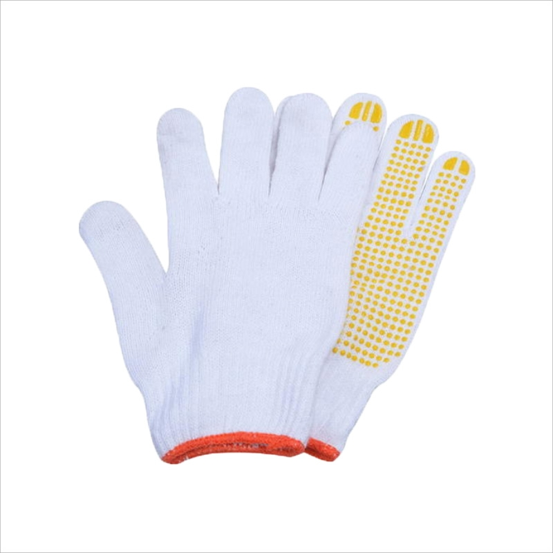 Cotton dot plastic gloves